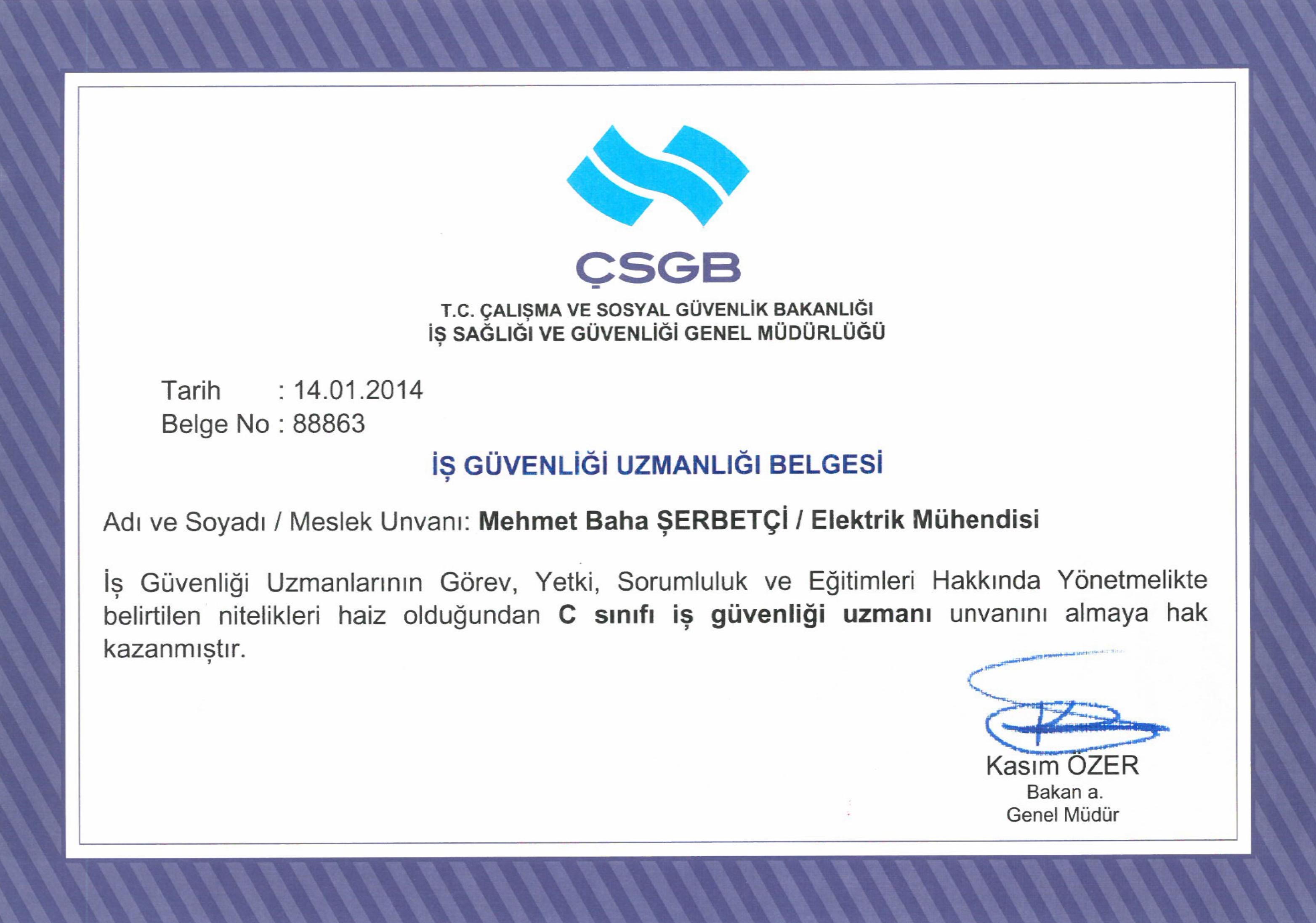 İş Güvenliği Uzmanlığı Belgesi - Baha Şerbetçi
