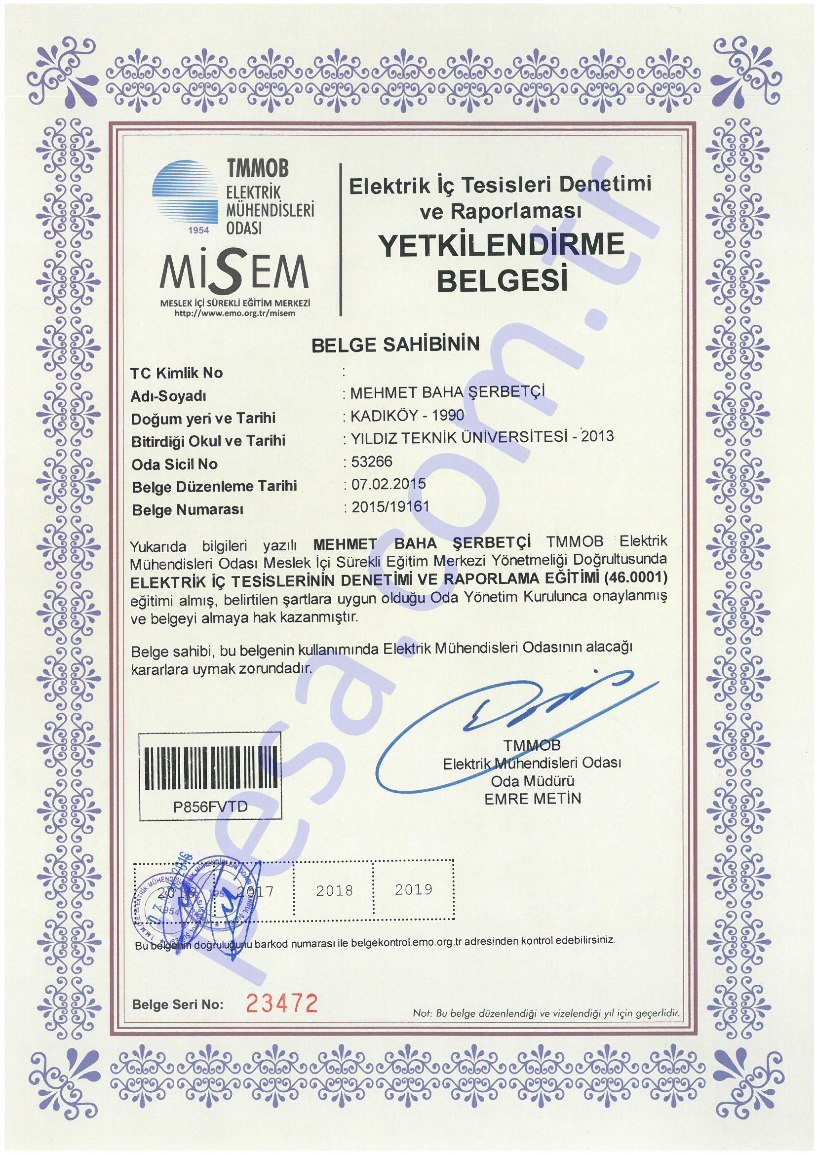 Elektrik İç Tesisleri Denetimi Yetkilendirme Belgesi - Baha Şerbetçi