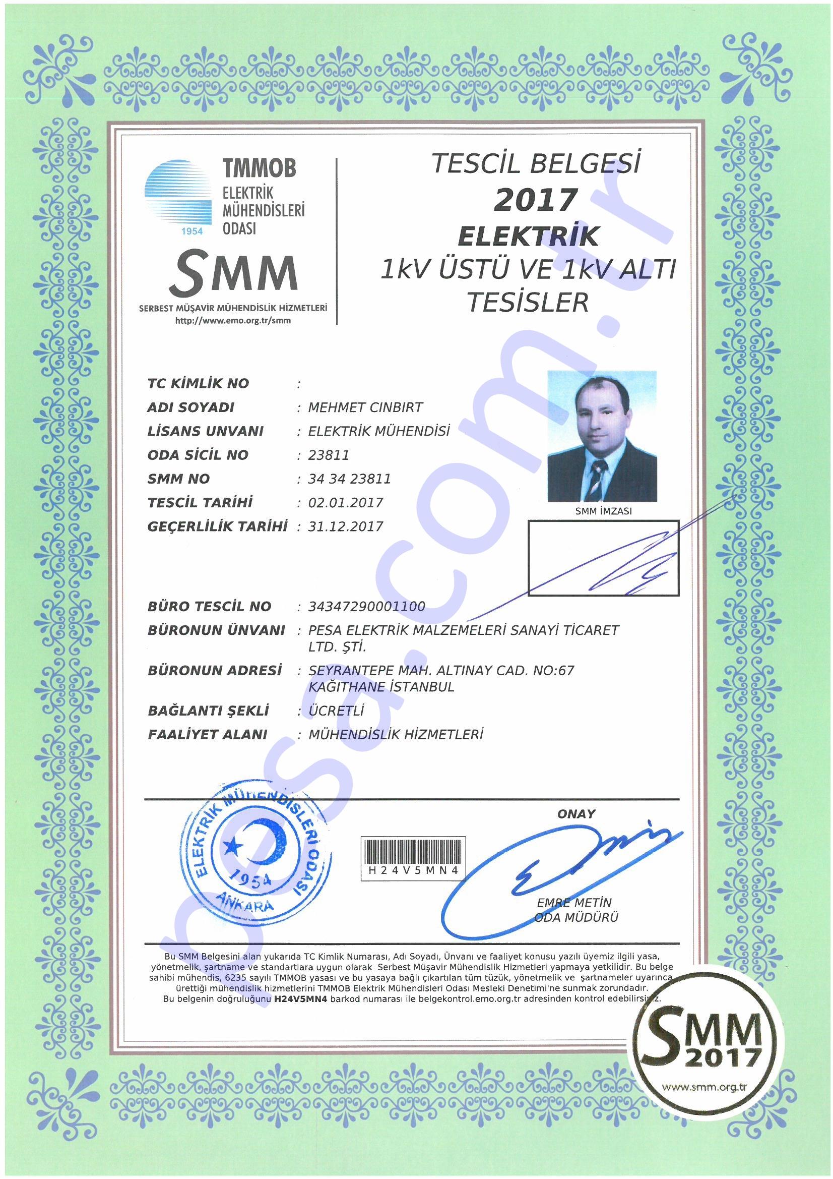SMM Tescil Belgesi - Mehmet Cınbırt