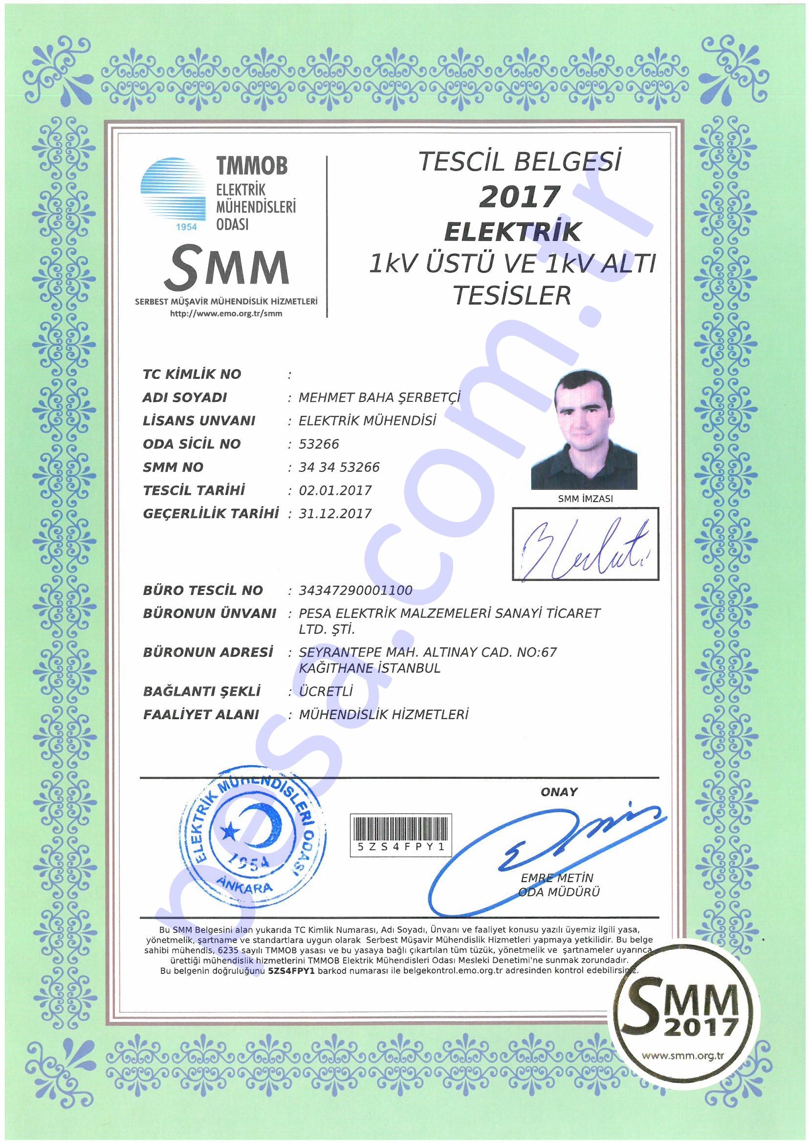 SMM Tescil Belgesi -Baha Şerbetçi