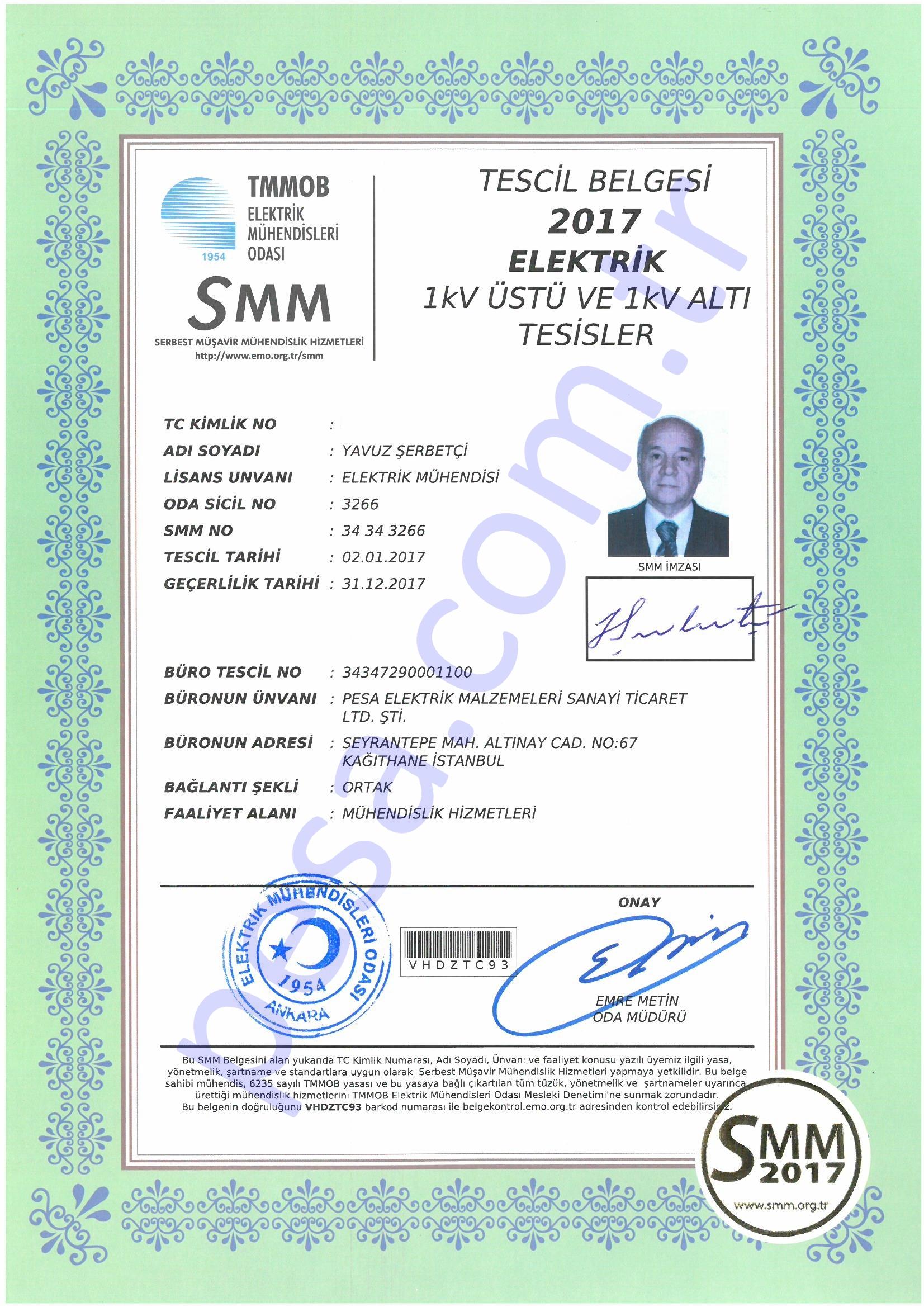 SMM Tescil Belgesi -Yavuz Şerbetçi
